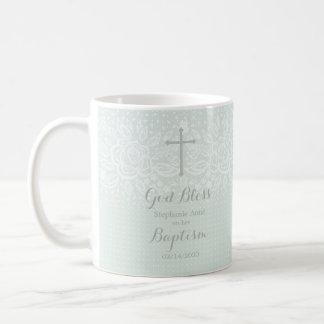 Cordón floral delicado del ópalo azul del bautismo taza de café