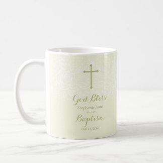 Cordón floral delicado sabio del bautismo taza de café