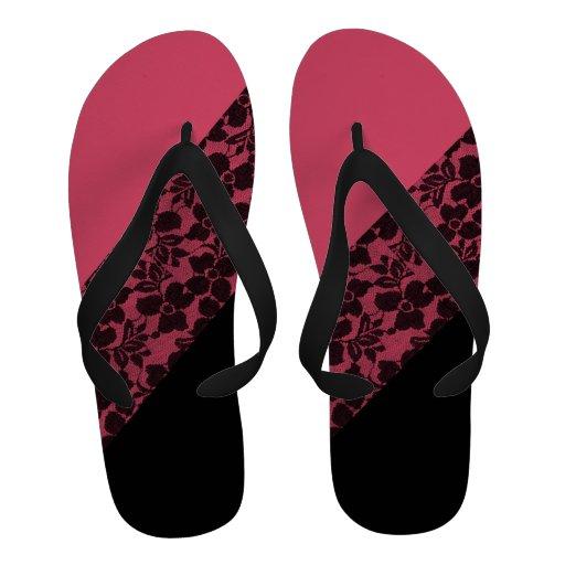 Cordón floral elegante del bloque negro rosado ele sandalias de playa