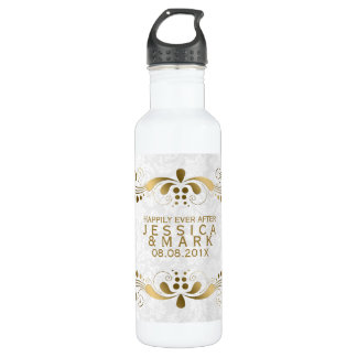 Cordón floral elegante del oro con los damascos botella de agua de acero inoxidable