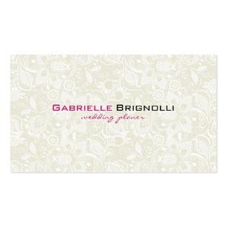 Cordón floral elegante del vintage beige y blanco tarjetas de visita