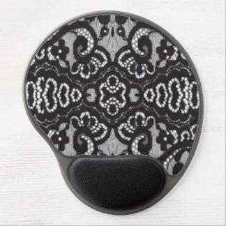 cordón floral negro femenino de la moda del boho alfombrilla de ratón con gel