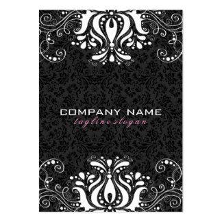 Cordón floral negro y blanco elegante tarjetas de visita grandes