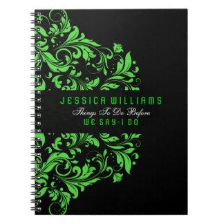Cordón floral negro y verde de los remolinos libros de apuntes