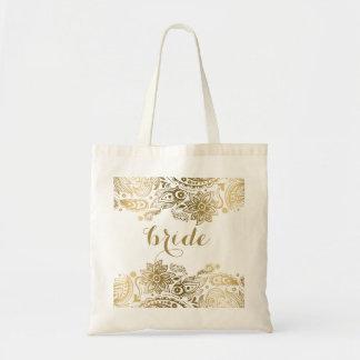Cordón floral Paisley del oro del bolso de la