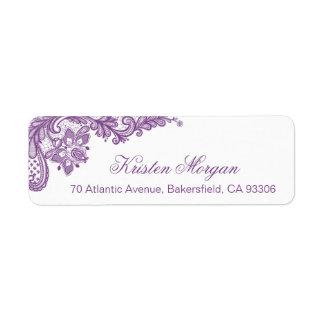 Cordón floral púrpura de la lavanda elegante que etiqueta de remitente