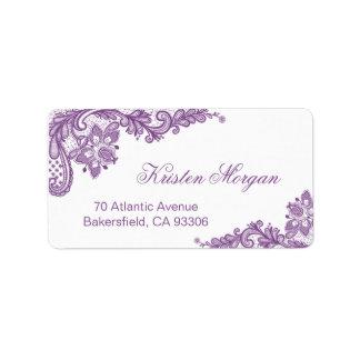 Cordón floral púrpura elegante y elegante etiqueta de dirección