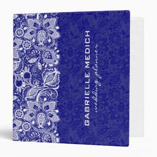 Cordón floral real del azul y blanco del vintage