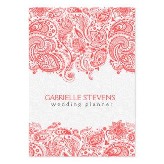 Cordón floral rojo coral y blanco de Paisley Tarjetas De Visita Grandes