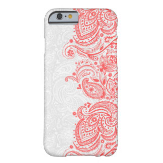 Cordón floral rojo coral y blanco elegante de funda para iPhone 6 barely there