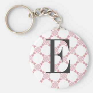 Cordón floral rosado blanco con llavero de la letr
