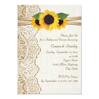 Cordón, girasoles y cena del ensayo del boda de la comunicados personalizados