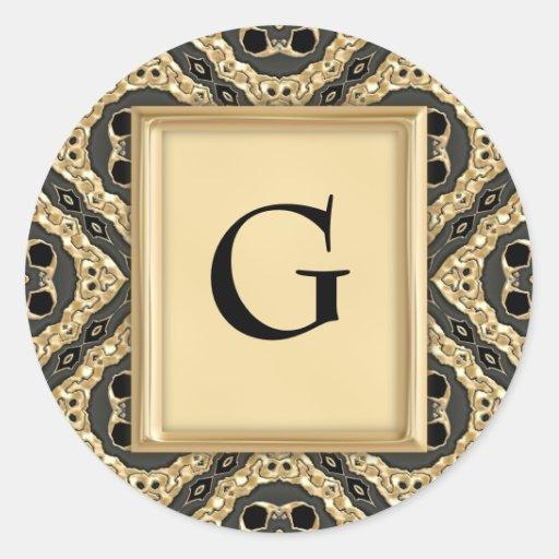 Cordón grabado en relieve oro pegatina redonda