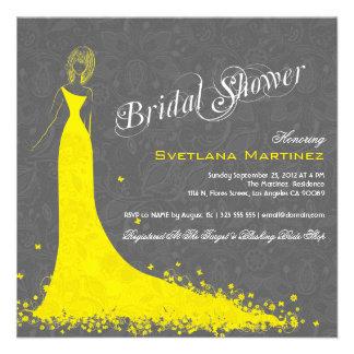 Cordón gris con el vestido de boda amarillo comunicados personalizados