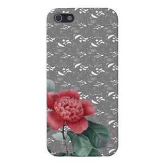 Cordón gris y cubierta roja del iPhone de Camelia iPhone 5 Funda