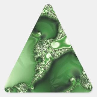Cordón hermoso del fractal de la menta verde pegatinas de triangulo