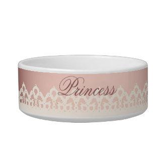 cordón lindo del arco del rosa de la princesa del comedero para mascota
