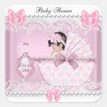 Cordón lindo del rosa de la niña de la fiesta de b calcomanías cuadradass personalizadas