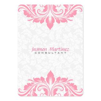 Cordón loral blanco del rosa del damasco tarjetas de visita grandes