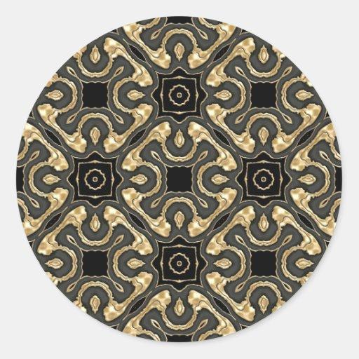 Cordón metálico del oro etiquetas redondas