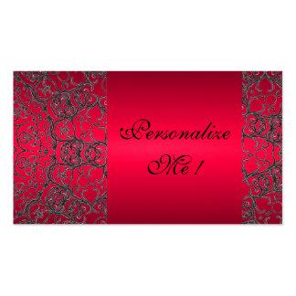 Cordón moderno negro rojo elegante inicial tarjetas de visita