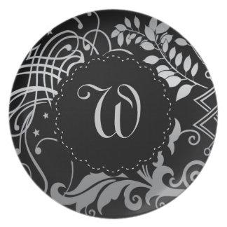 Cordón negro con monograma adaptable de Demask Plato Para Fiesta