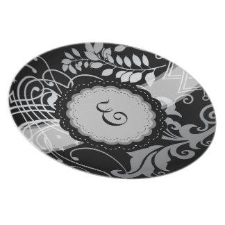 Cordón negro con monograma adaptable de Demask Platos Para Fiestas