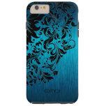 Cordón negro de aluminio cepillado turquesa funda de iPhone 6 plus tough