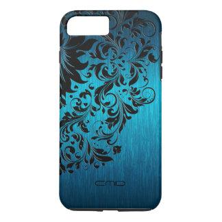 Cordón negro de aluminio cepillado turquesa funda iPhone 7 plus