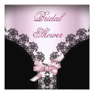Cordón negro de la ducha del rosa nupcial invitación personalizada