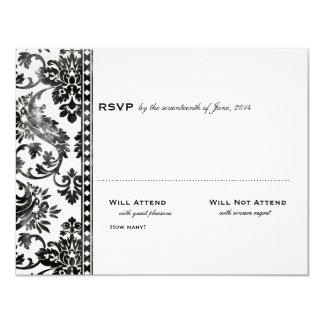 Cordón negro del damasco del vintage que casa RSVP Invitación Personalizada