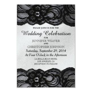 """Cordón negro e invitaciones blancas del boda del invitación 3.5"""" x 5"""""""