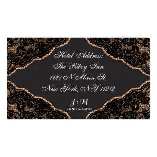 Cordón negro elegante en tarjeta del hotel del tarjetas de visita