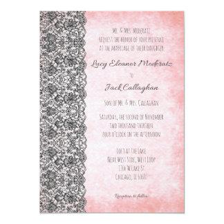 """Cordón negro en rosa brumoso invitación 5"""" x 7"""""""
