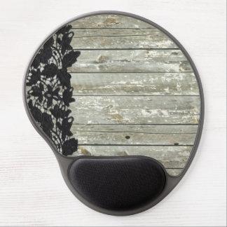 cordón negro moderno de la textura de madera femen alfombrilla de ratón con gel