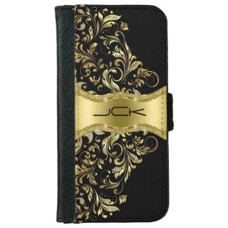 Cordón negro Monogramed del oro y del brillo Carcasa De iPhone 6