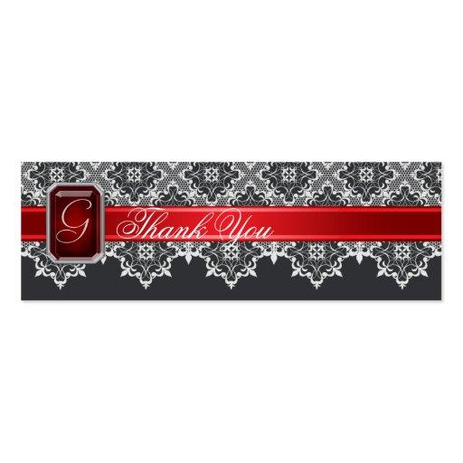 Cordón negro y rojo Jeweled casando la etiqueta Tarjetas De Visita Mini