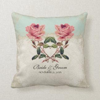 Cordón poner crema barroco de la menta n del rosa cojín decorativo