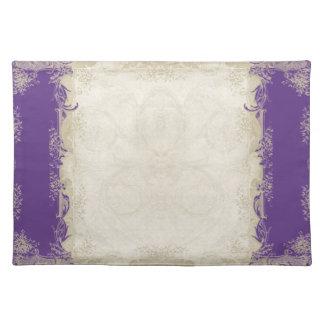 Cordón poner crema barroco del vintage de la púrpu manteles individuales