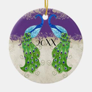Cordón poner crema púrpura del vintage del pavo adorno para reyes