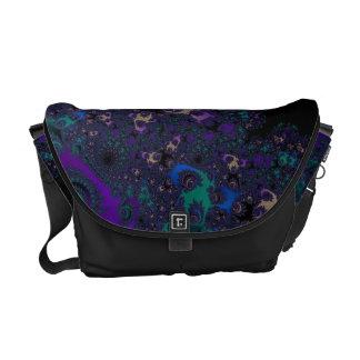 Cordón púrpura azul del fractal del negro del oro bolsas messenger