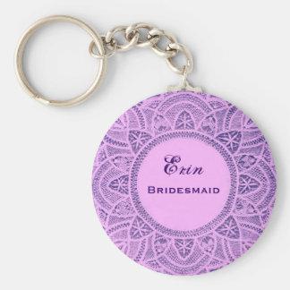 Cordón púrpura B026 del vintage del favor del boda Llavero Redondo Tipo Pin