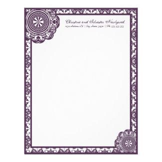 Cordón púrpura del Arabesque papel con membrete Membrete A Diseño