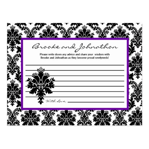 Cordón púrpura del damasco del consejo del negro p postales