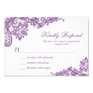 """Cordón púrpura hermoso de la lavanda que casa la invitación 3.5"""" x 5"""""""