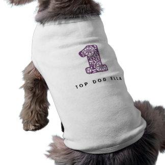 Cordón púrpura lindo y femenino número 1 UN A23 Playera Sin Mangas Para Perro