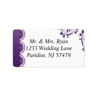 Cordón púrpura moderno el | que se casa etiqueta de dirección