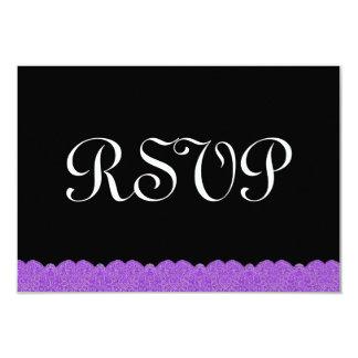 """Cordón púrpura y negro RSVP que casa respuesta Invitación 3.5"""" X 5"""""""