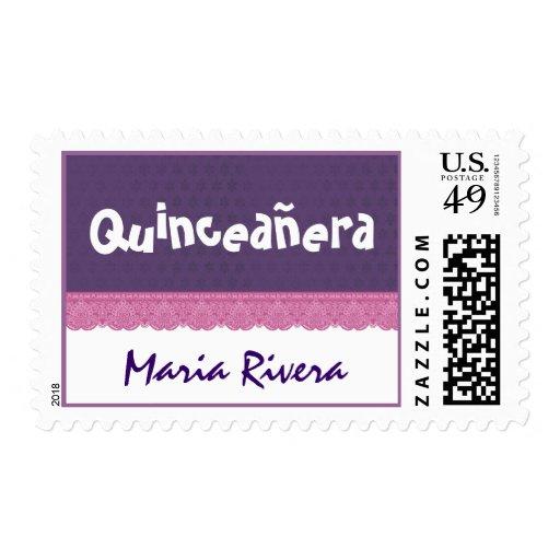 Cordón púrpura y rosado Quinceanera Franqueo