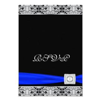 Cordón real RSVP del negro azul Comunicados Personalizados